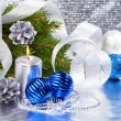 Blue christmas balls and silver candle — Stock Photo #10359164