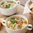 Meatballs soup - Stock Photo