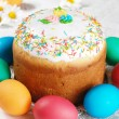 Easter eggs and cake - Stock Photo