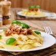 Pasta rigatoni on the white plate — Stock Photo