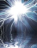 Electric flash of lightning on a dark — Stock Photo
