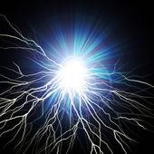 Electric flash of lightning on a dark — Стоковое фото