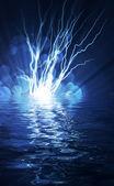 Elektrische flits van bliksem op een blauwe achtergrond — Stockfoto