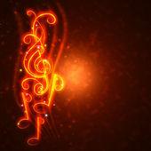 Burning musical symbols — Foto Stock