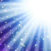 Sun's rays on a blue sky with stars — Stock Photo