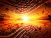 Glowing sunset with musical notes — Stock Photo