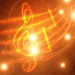 Burning musical symbols — Stock Photo