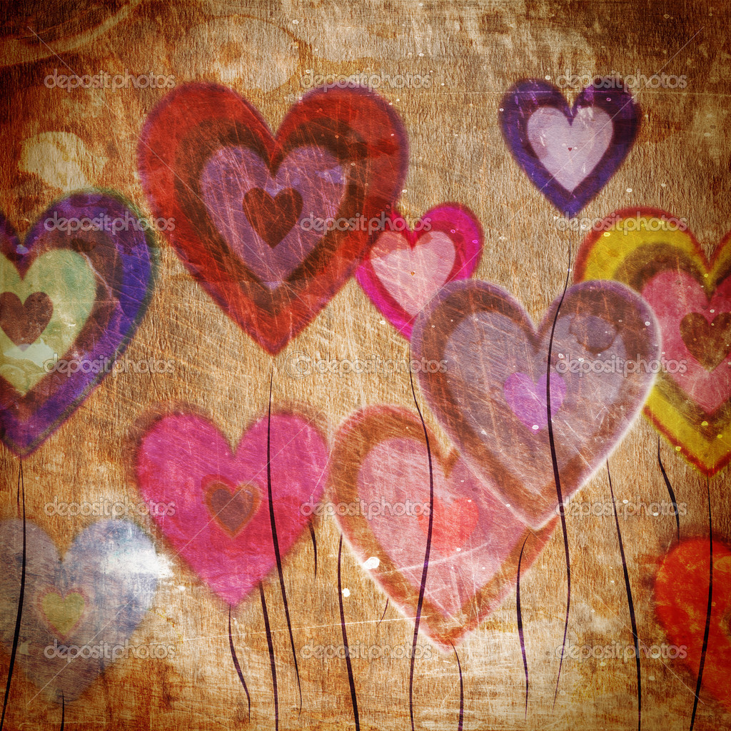 Grunge love pattern background with some stains on it  Stock Photo #8723007