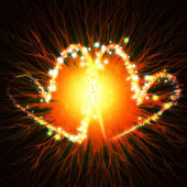 Flash an explosion hearts — Stock Photo