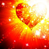 Red heart with rays — Stock Photo