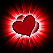 Red hearts with rays on a black — Stockfoto