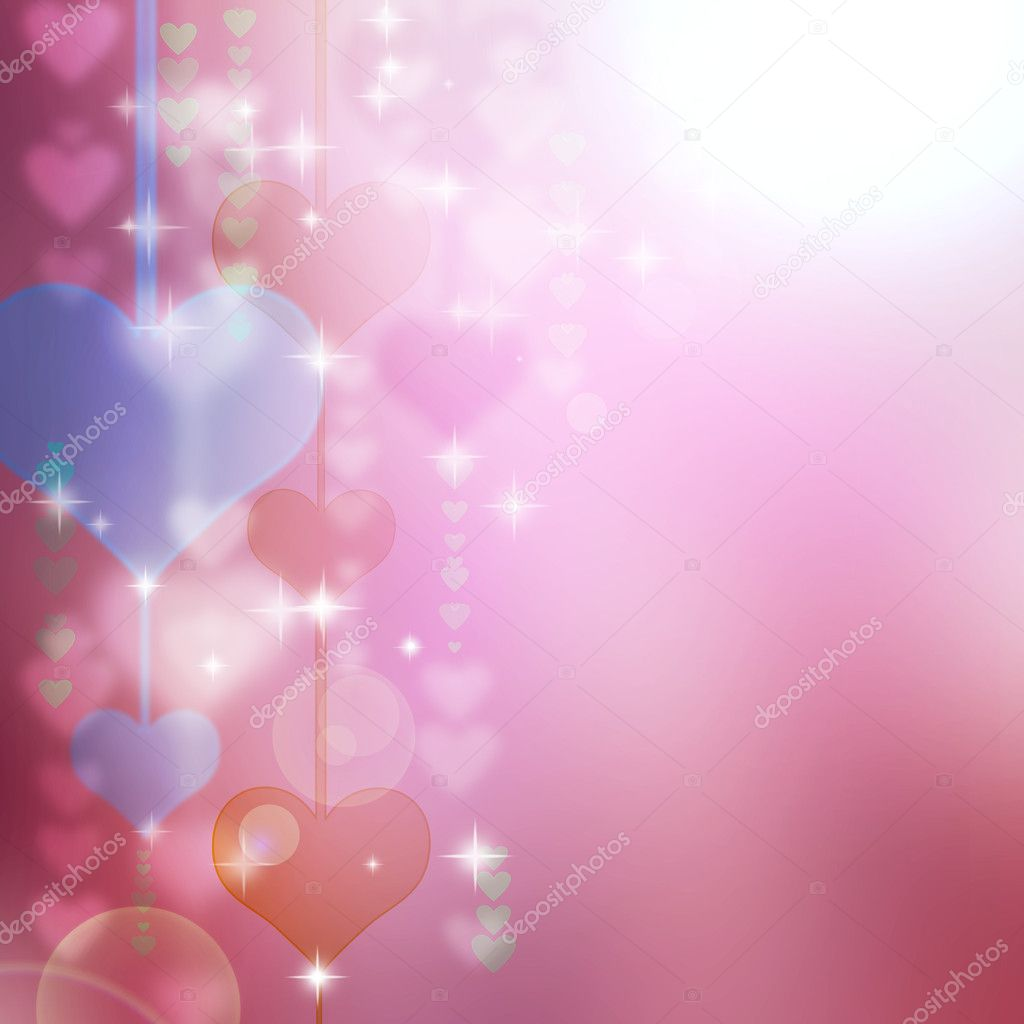Abstract romantic background with hearts and stars — Stock Photo #8832670