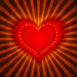 Red heart with rays on a grunge  background - Stock Photo