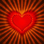 Red heart with rays on a grunge background — Stock Photo