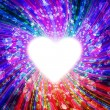 Design of multi-colored rays emanating from the radiant heart — Stock Photo