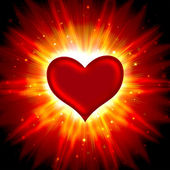 Red heart with rays on a black — Stock Photo