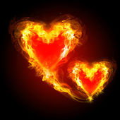 Burning hearts — Stock Photo