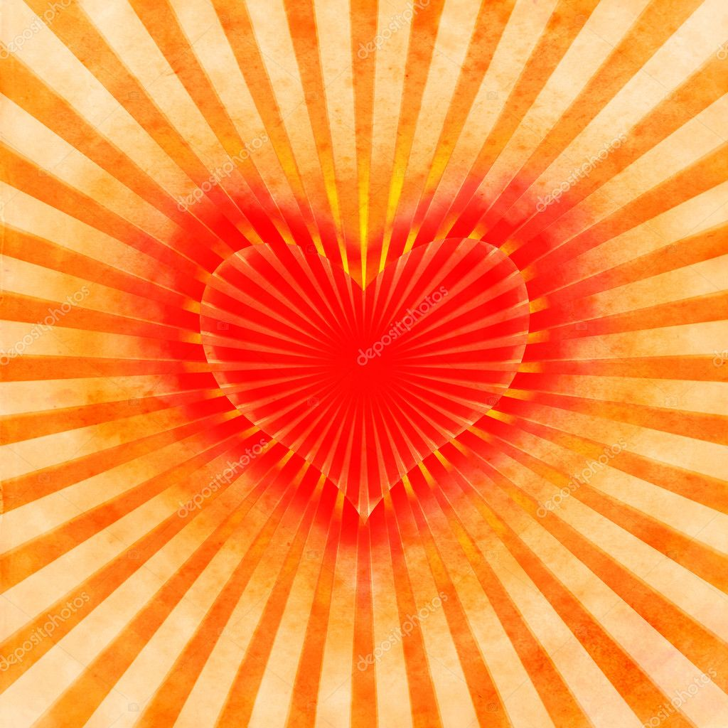 Red heart with rays on a grunge  background, abstract  Stock Photo #9815085