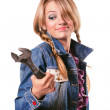Young girl with a wrench — Stock Photo