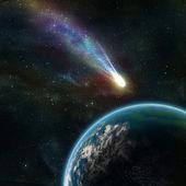Terra nello spazio con un asteroide volano — Foto Stock