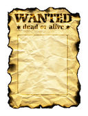 Old sheet of paper with burnt edges and words Wanted Dead or Ali — Stock Photo