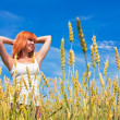 Royalty-Free Stock Photo: Beautiful young woman at wheat field