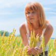 Beautiful woman at wheatfield — Stock Photo #8781351