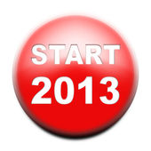 Red button with text Start 2013 — Stock Photo