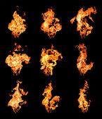 高を上げる火災炎のセット — ストック写真