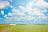 Field and cloudy sky with sun — Stock Photo