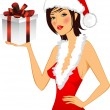 Stock Vector: Chrstmas card. Girl in a hat.