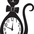 Cute wall clock cat sticker. Vector illustration — Stock Vector