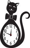Cute wall clock cat sticker. Vector illustration — Stock Vector