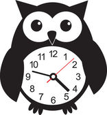Cute wall clock owl sticker. Vector illustration — Stock Vector