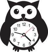 Cute wall clock owl sticker. Vector illustration — Stock Vector