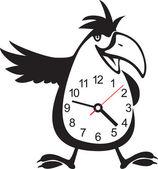 Wall clock parrot sticker. Vector illustration — Stock Vector