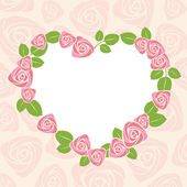Floral rose card for wedding or valentine. — Vector de stock