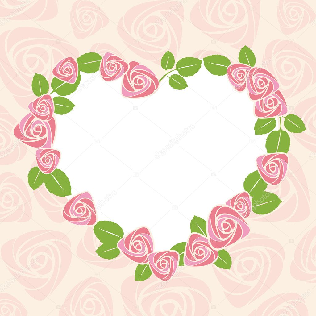 Floral rose card for wedding or valentine. Vector illustration. — Stock Vector #8237534