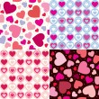 Set valentine seamless hearts pattern — Stock Vector