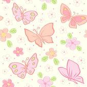 Sömlös vektor bakgrund med fjäril — Stockvektor