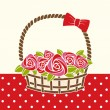 Gift basket with roses. — Stock Vector