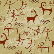 Cave Painting Seamless Pattern - Stock Vector