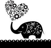 可爱的大象用鲜花。心形卡 — 图库矢量图片