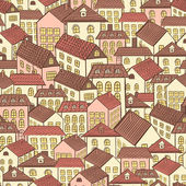 Seamless pattern town houses chocolate — Stock Vector