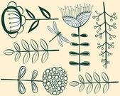 Seamless vintage flower pattern herbarium — Stock Vector