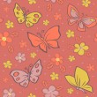 Seamless vector background with butterfly. — Stock Vector