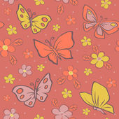 Seamless vector background with butterfly. — Vector de stock