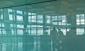 Airport silhouette and — Stock Photo