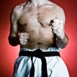 Karate training, sport and fitness in gym — Stock Photo