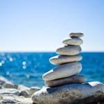 Stones stack, Croatian beach — Stock Photo